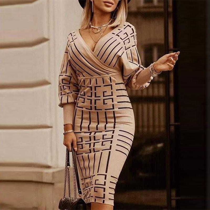 Deruilady Fruhling Vintage Frauen Striped Midi Kleid 2021 Sexy Dunne Lange Kleider Fur Frauen Elegante Damen Party Kleider Sissy Schule De